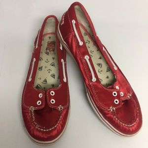 Vans Abby Red Satin Slip On Deck Shoes